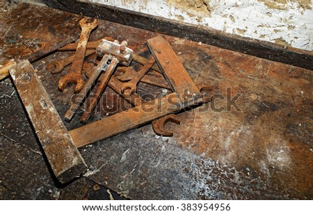 Old Woodworking Tools On Dirty Wooden Stock Photo Edit Now