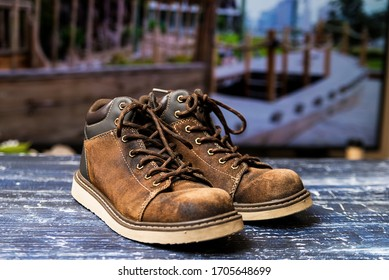 old work boots close up