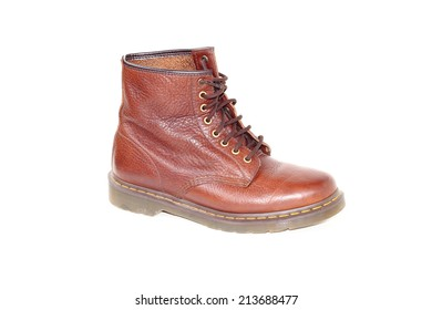 An old  working boots Isolated on white background