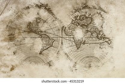 Old world map in a beautiful  background with amazing colors.