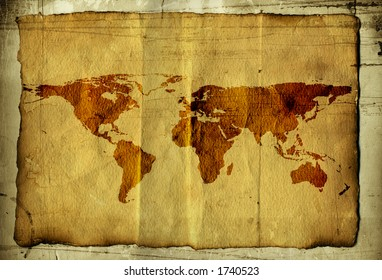 old world map on paper