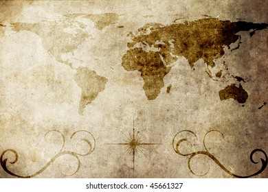 An old world map texture and background
