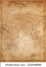 Old world map in vintage style