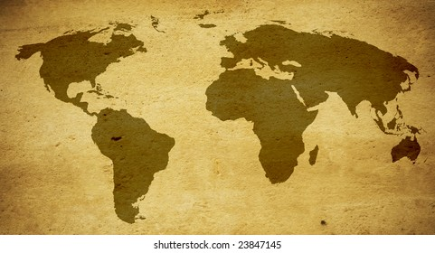 old world map in warm tones yellow