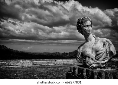 An old world sculpture left to be overtaken by nature outside an abandoned palace in a third world country