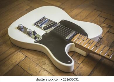Old worn electric guitar