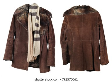 An old worn female fur coat and woolen scarves hang on a hanger. View from both sides. Isolated on white studio set