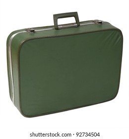 Old and worn green vintage suitcase isolated on white
