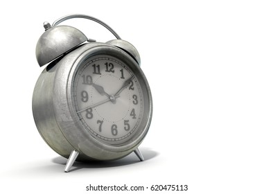 An old worn  metal vintage desk clock on an isolated white studio background - 3D Render