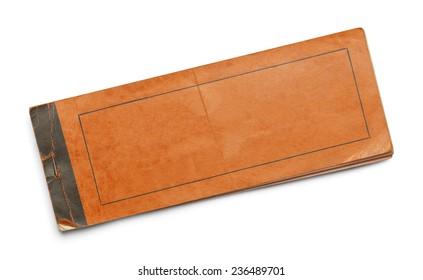 Old Worn Orange Booklet Isolated on White Background.