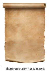 Old worn paper scroll isolated on white with dirty spots
