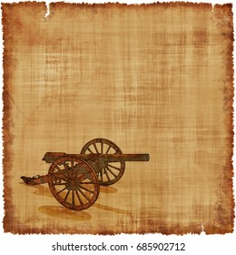 An old worn parchment featuring a Civil War era cannon.