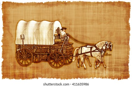 An old worn parchment featuring an Old West covered wagon.