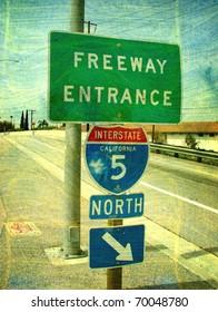old worn photo of california freeway entrance