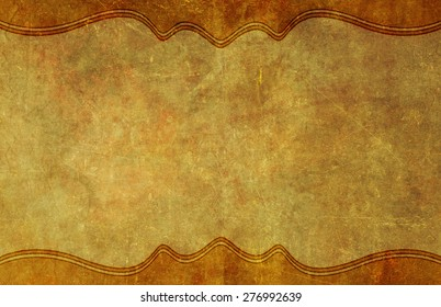 Old, worn and yellowed grunge paper background texture with top and bottom graphic border.