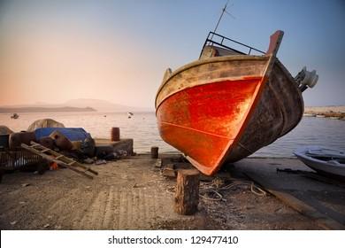 Old wreck in Koroni harbor in Greece