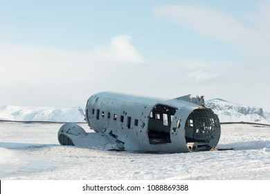 Old  wrecked DC plane in Iceland