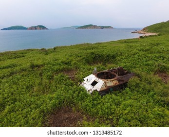 Old WW2 tank on the island of East Sea