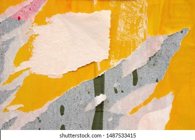 Old yellow blank ripped torn posters grunge texture background creased crumpled paper backdrop placard surface / Urban street posters