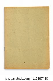 old yellow booklet on white background