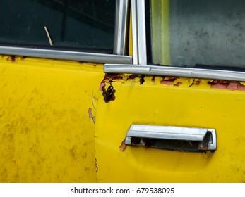 old yellow car door