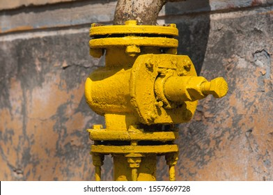 old yellow gas valve.Control valves. gas supply.
