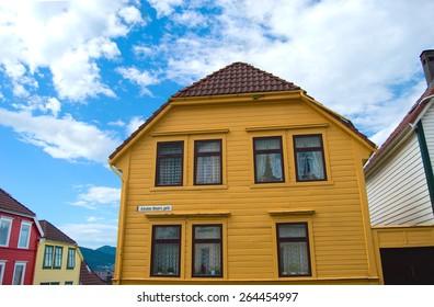 Old yellow house in Absalon Beyers street, Bergen downtown, Norway
