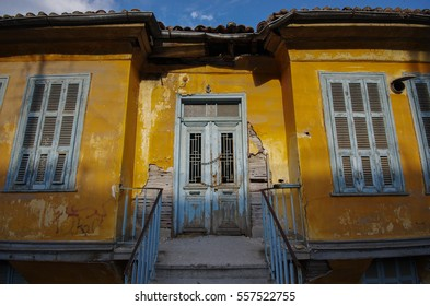 Old yellow house in Kavala Greece