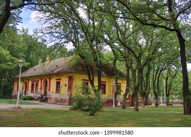 Old yellow house in Palic Lake Vojvodina region of Serbia, Subotica city, 12 May 2019