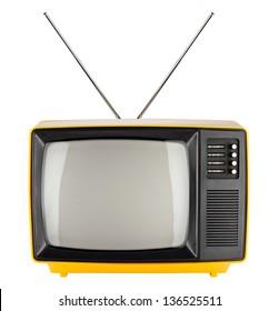 old yellow retro TV