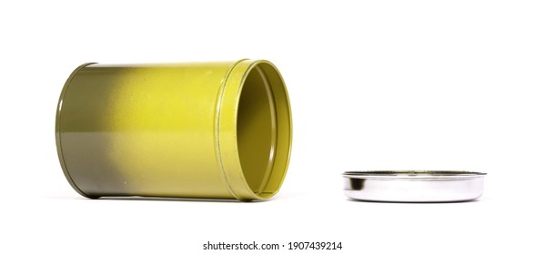 Old yellow tin can, isolated on white background