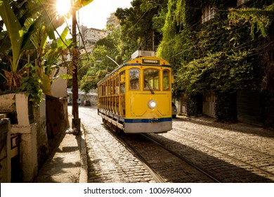 Old yellow tram in Santa Teresa district in Rio de Janeiro, Brazil