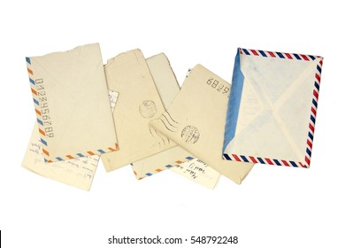 Old yellowed envelopes, letters