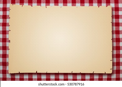 Old yellowed sheet of paper on white red checkered background, close up, text place. Retro art deco.