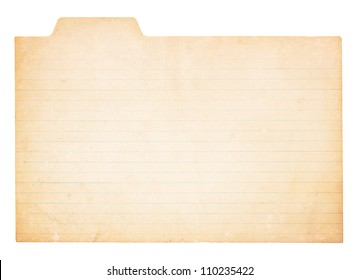 An old, yellowing card with tab. Card is stained and worn in places.  Isolated on white with clipping path.
