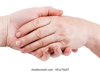 Old and young hand, isolated on white