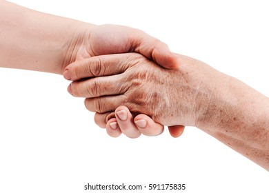 Old and young hand, isolated on white - two generations concept