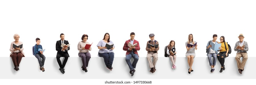 Old and young people sitting on a banner reading books isolated on white background