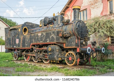 Old Yugoslavian train near old rail station in the city of Vrsac, Serbia, East Europe