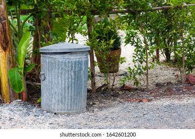 Old zinc bin in garden on small rock next to banana tree,