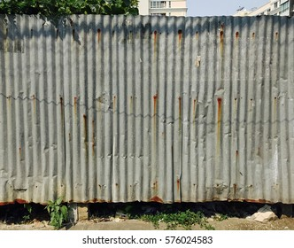 Old zinc fence side view