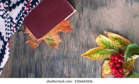 oldbook lies on a warm gray table with a bookmark of autumn leaf, lying next to a warm cozy white scarf