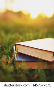 an oldbook on a summer meadow at sunset