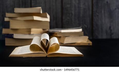 oldbooks on the black table