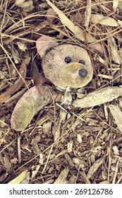 Olde teddy bear left on the floor