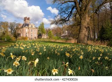 Oldenaller castle near Putten in spring