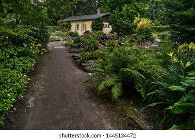Oldenburg, Germany - July 04, 2019: scenic view of the botanical garden during summer
