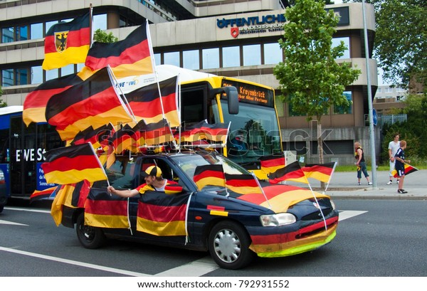 Oldenburg, Niedersachsen, Germany - July 03 2010: car decorated with a lot of german flags after the german soccer team won a game in fifa worldcup