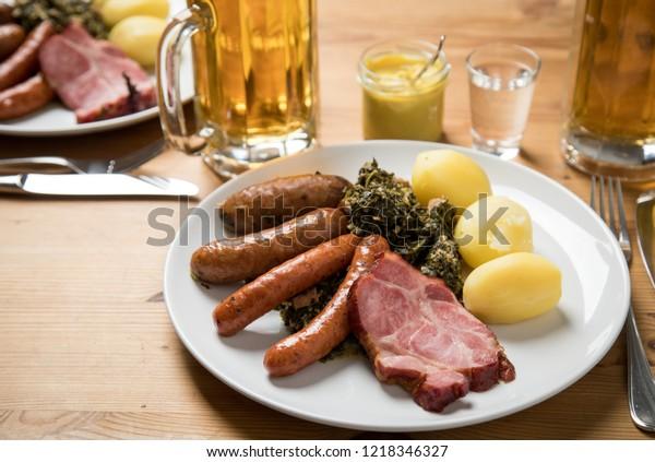 Oldenburger Green Cabbage Sausage Mix Kassler Stock Photo