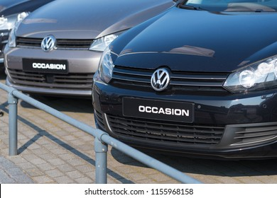 OLDENZAAL NETHERLANDS - APRIL 9, 2017: VW occasions for sale. Volkswagen is the number one of the most sold cars in the netherlands